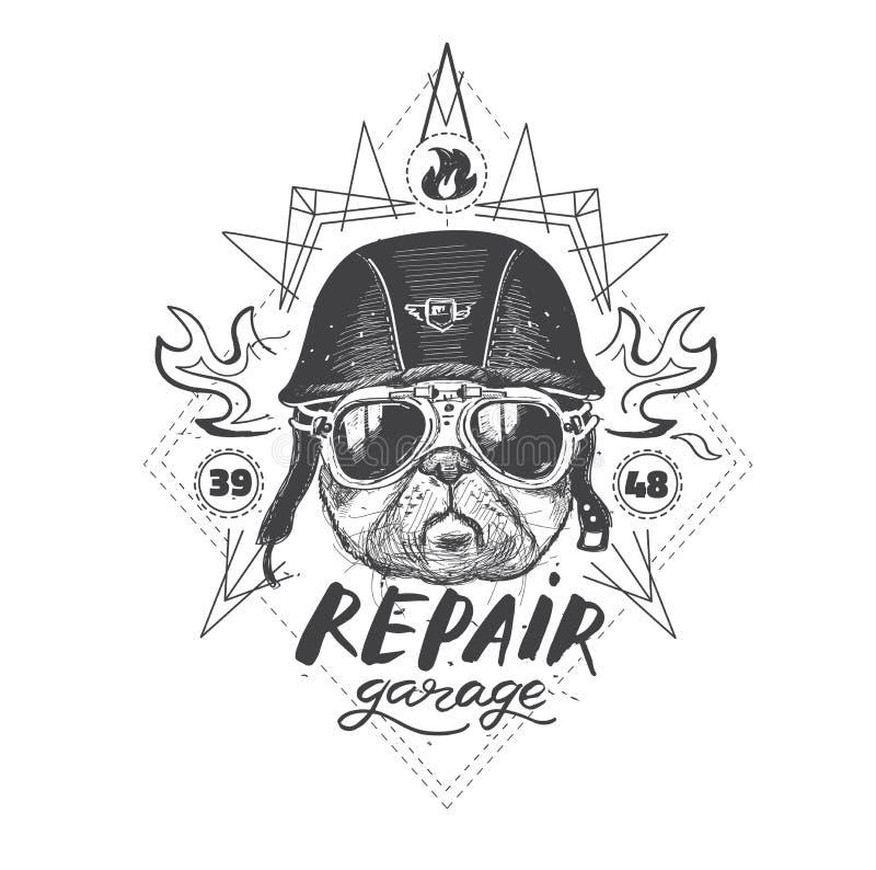 Rowerzysty mopsa pies Set rocznika motocyklu emblematy, etykietki, odznaki, royalty ilustracja