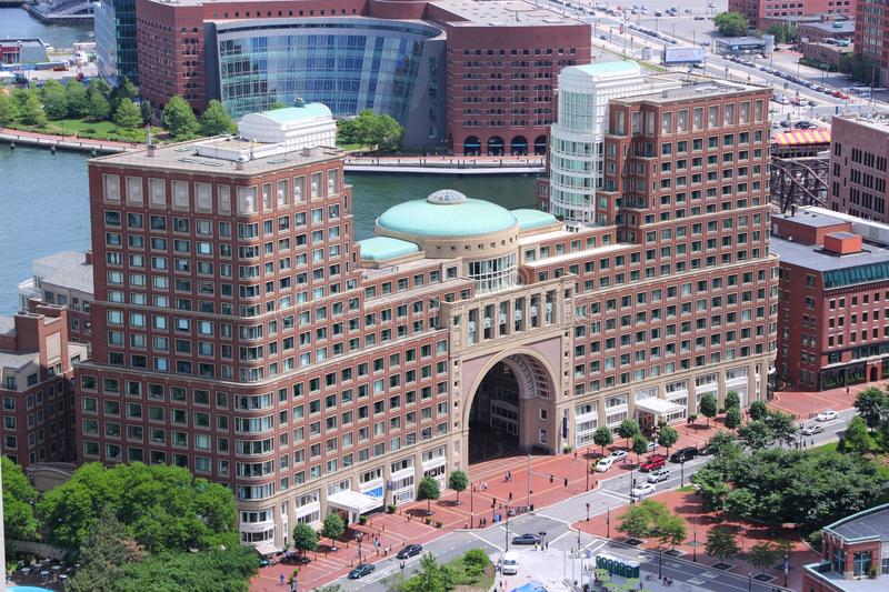 Rowes Wharf Boston. BOSTON, USA - JUNE 9, 2013: Aerial view of Rowes Wharf architecture in Boston. JP Morgan Chase is among the tenants stock photography
