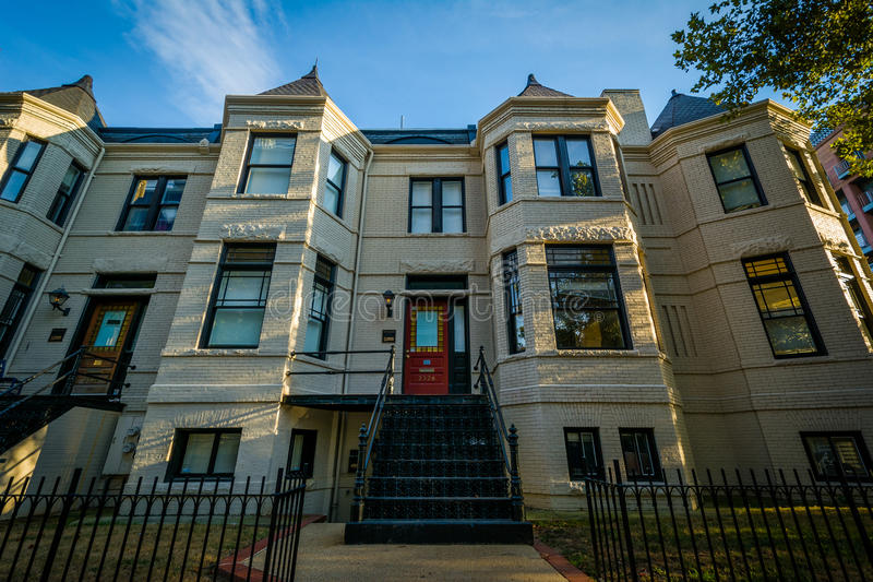 Rowhouses on L Street, in the West End, Washington, DC. royalty free stock photos