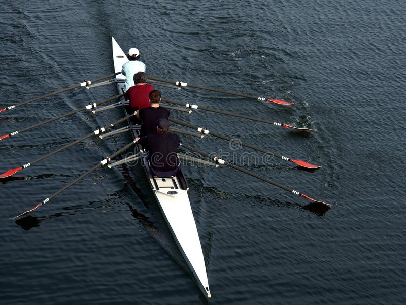 Rowing. Four members of the Victoria, BC rowing club at an early morning practise