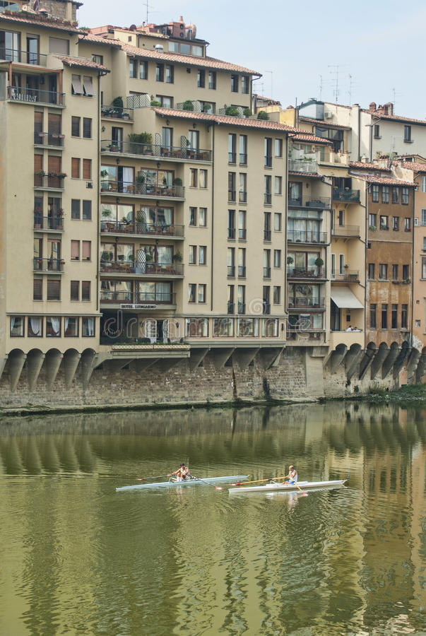 Download Rowing on the Arno River editorial photography. Image of reflection - 26891982