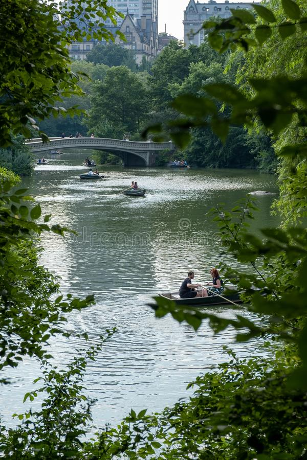 Rowing a boat at Central Park lake, in the middle of trees and buildings as background stock photography
