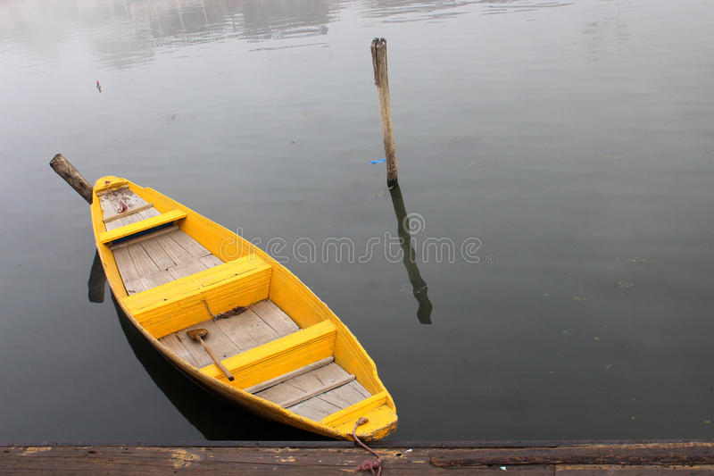 Rowing boat on lake. stock photos