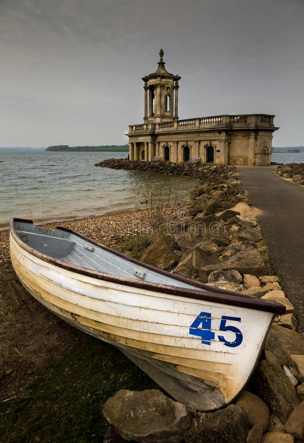 Rowing boat at Normanton Church stock images