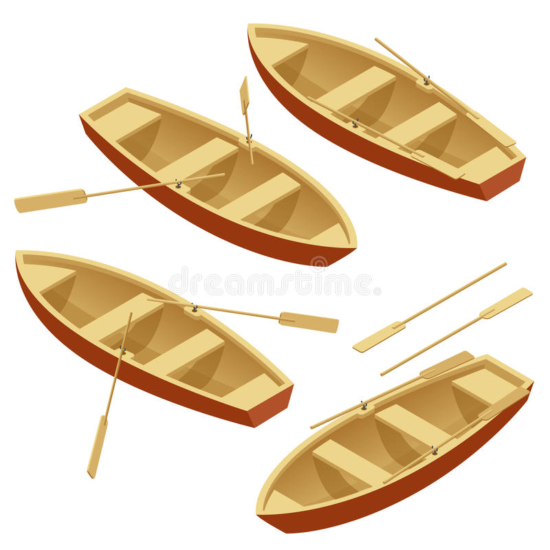 Rowing Boat Set. Wooden Boat With Paddles Isolated Over White. Flat 3d Isometric Vector ...