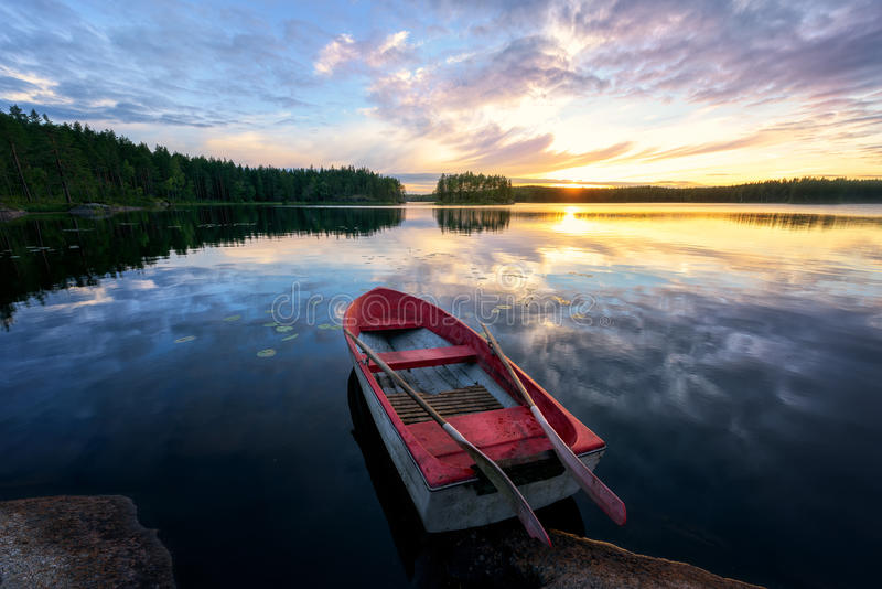 Rowing Boat With Sunset royalty free stock photography