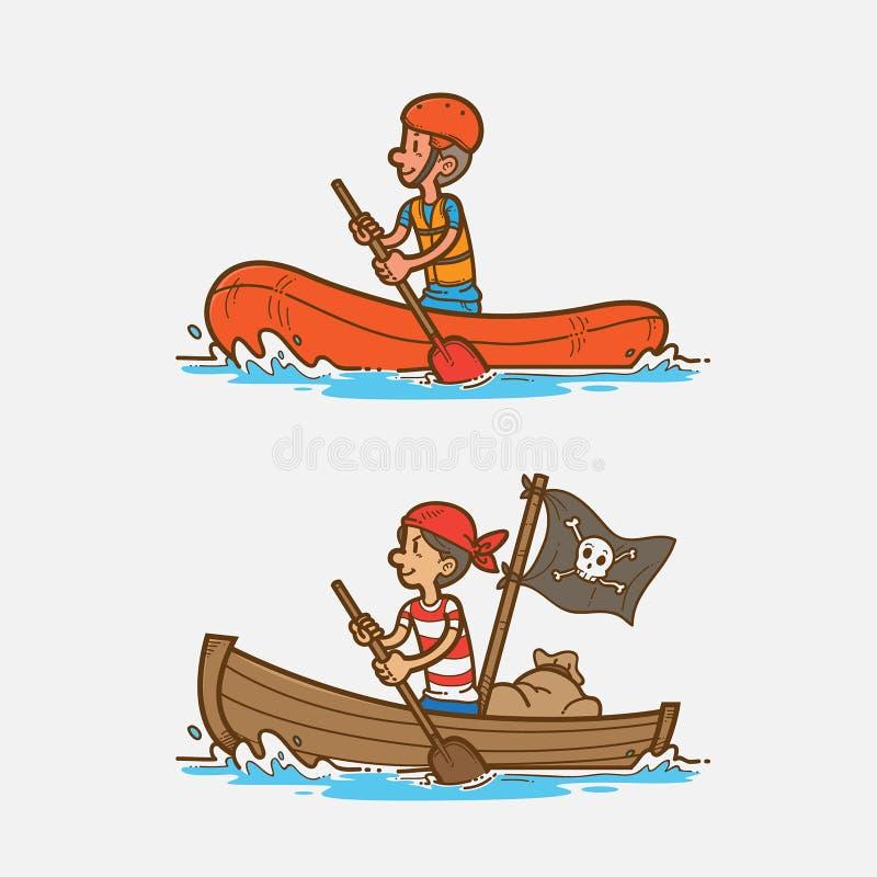 Rowing boat vector illustration