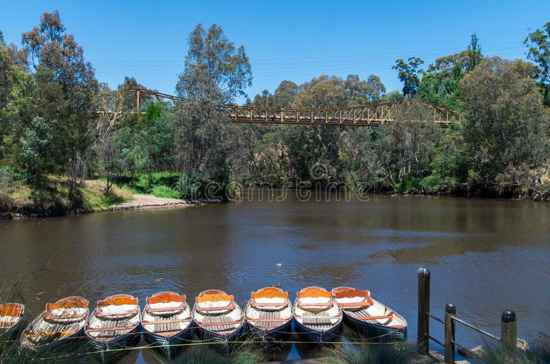 Rowing boats at Fairfield Boathouse. Rowing boats on the bank of the Yarra River in Melbourne, Australia on a summer day stock photography
