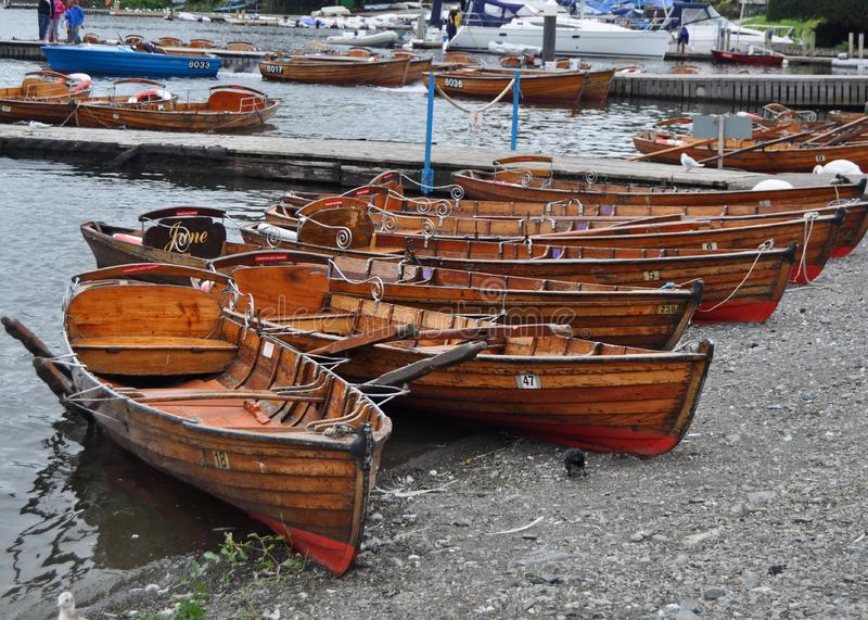 Rowing boats for hire royalty free stock photos