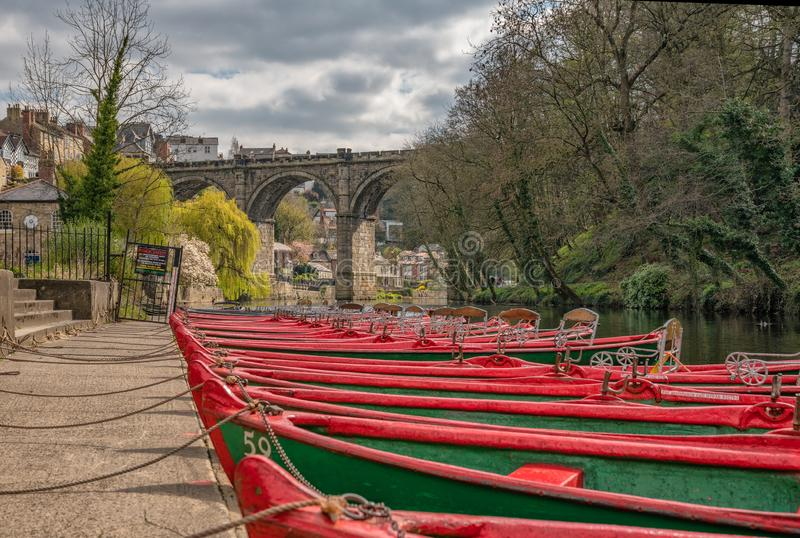 Rowing boats for hire at Knaresborough near Harrogate. In North Yorkshire, United Kingdom stock image