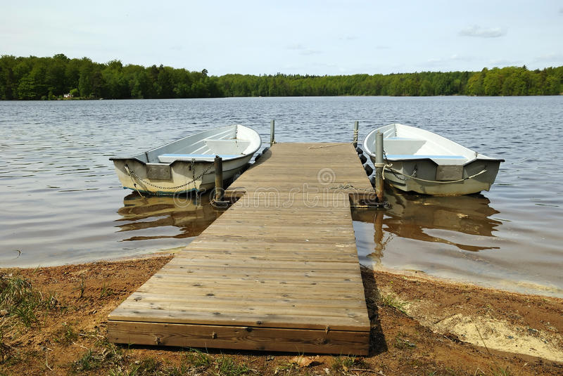 Rowing boats ready for ride stock photography