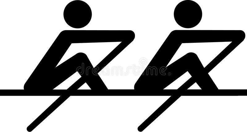 Rowing Icon coxless pair stock illustration