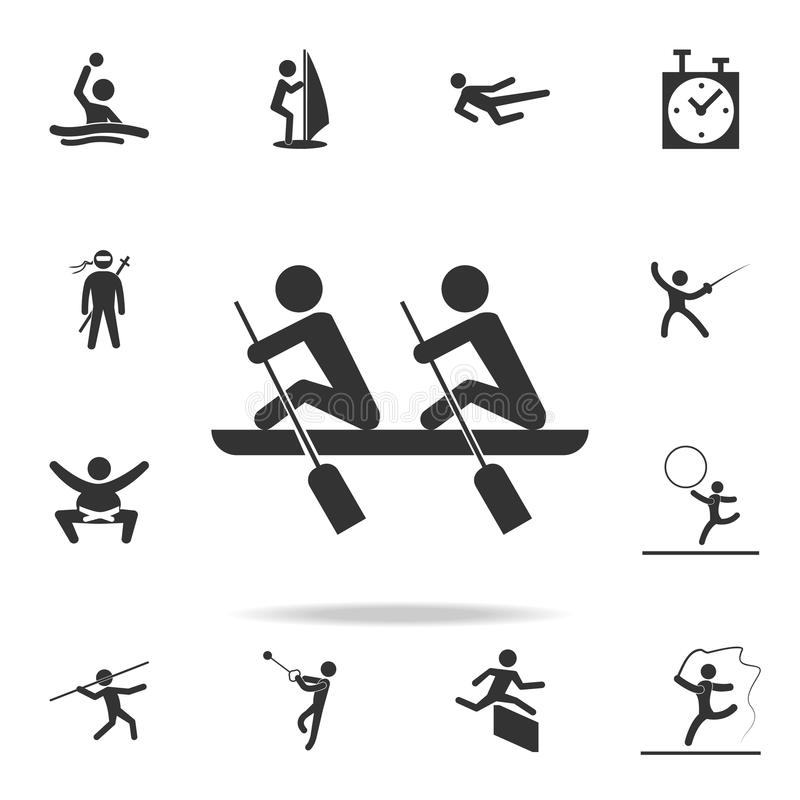 rowing icon. Detailed set of athletes and accessories icons. Premium quality graphic design. One of the collection icons for websi stock illustration