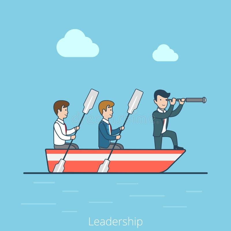 Rowing plano linear del hombre del capitán de la dirección del negocio stock de ilustración