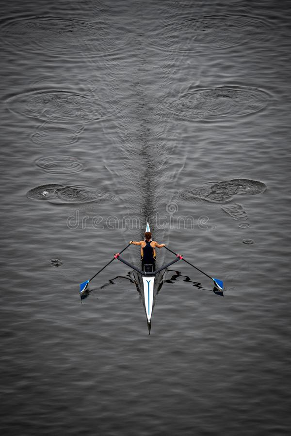 Rowing Solo - Aerial View royalty free stock image