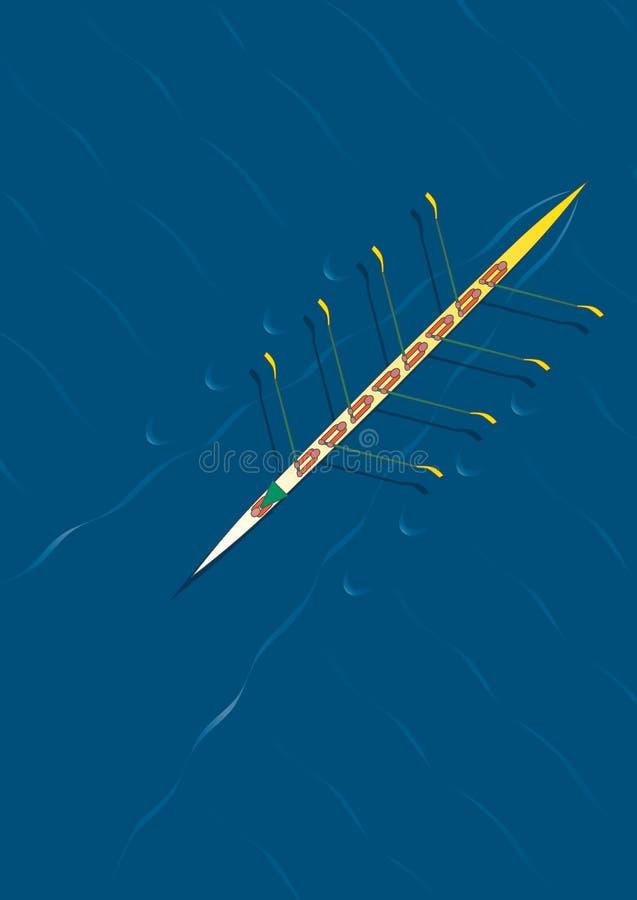 Rowing team diagonal royalty free illustration
