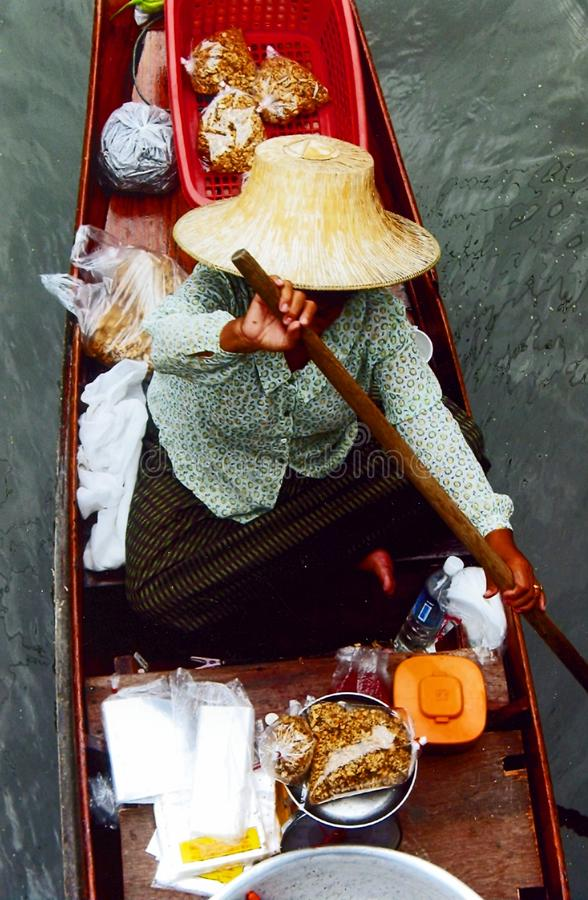 Rowing trader at the Floating market stock photo