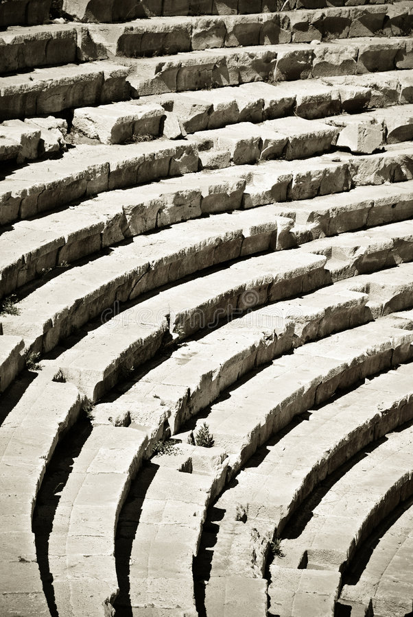 Rows of ancient amphitheater
