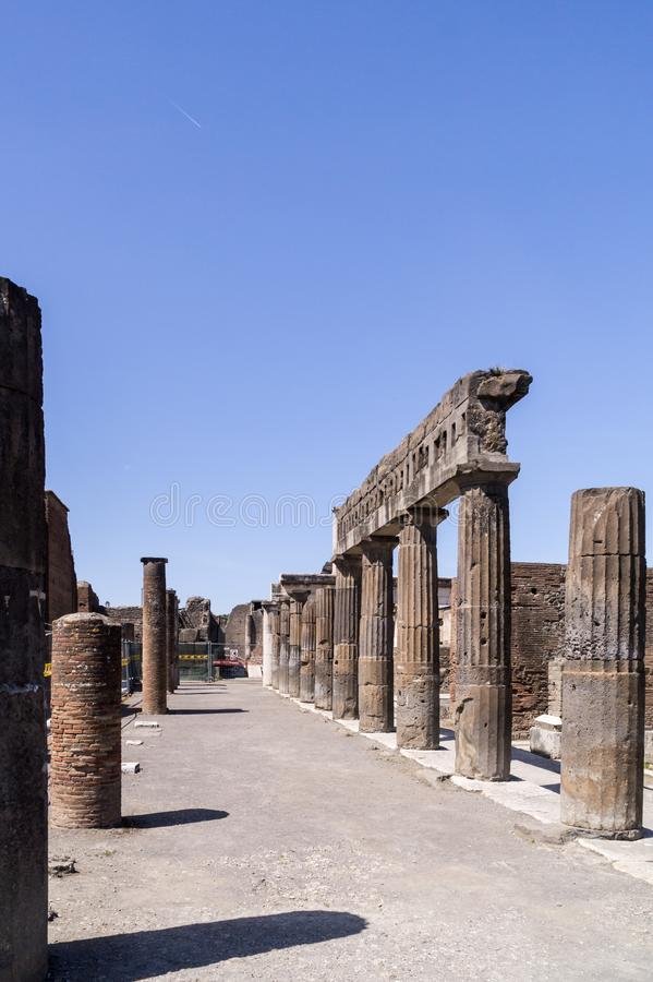 Rows of ancient classical columns in Pompeii, Italy royalty free stock photos