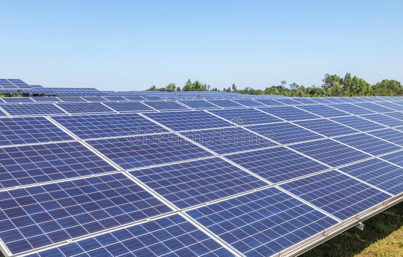 Rows array of polycrystalline silicon solar cells or photovoltaics cell in solar power plant systems station. Convert light energy from the sun into electricity stock photo