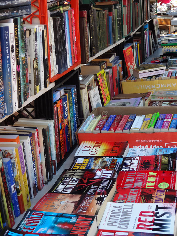 Rows of Books Being Sold at a Flea Market stock photos