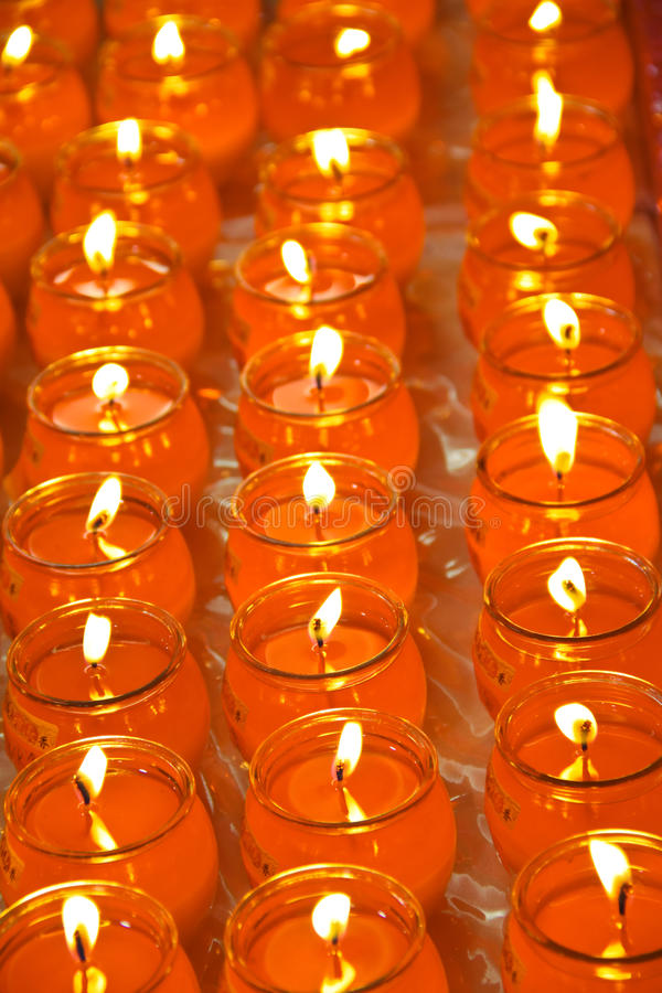Download Rows Of Buddhish Blessing Candle Offerings Stock Photo - Image: 20482616