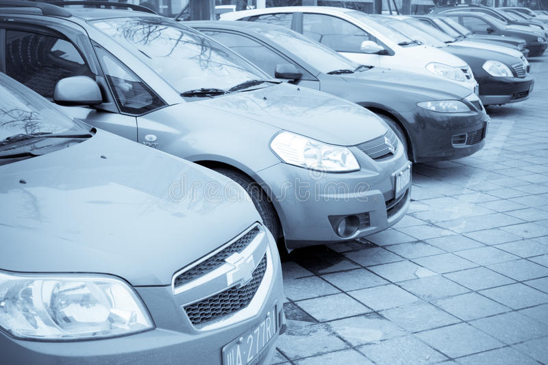 Download Rows of cars editorial stock photo. Image of park, cars - 17950588