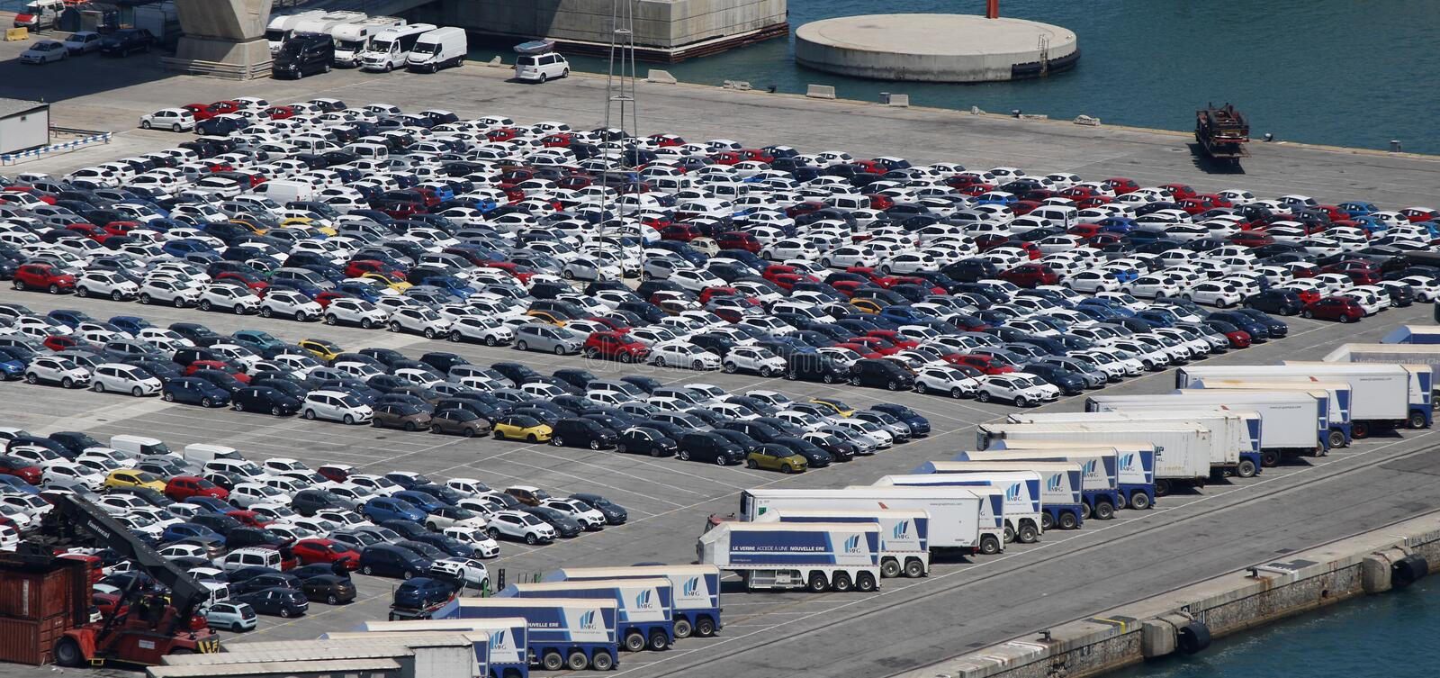 Rows of cars in a port royalty free stock photo