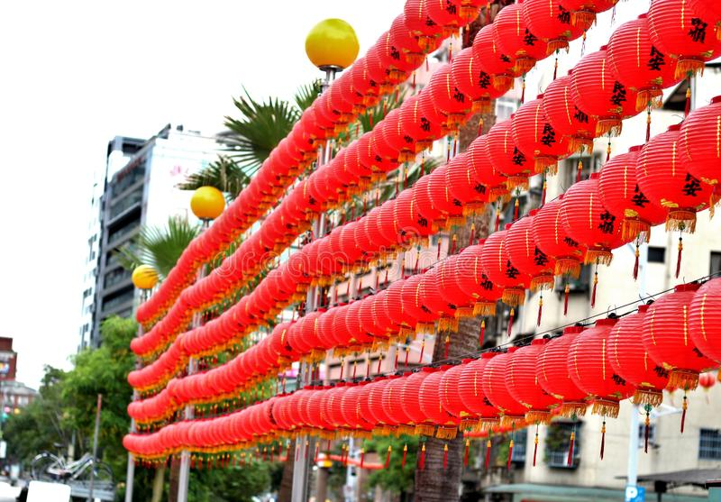 Rows of Chinese lanterns on the streets of Taipei royalty free stock photography