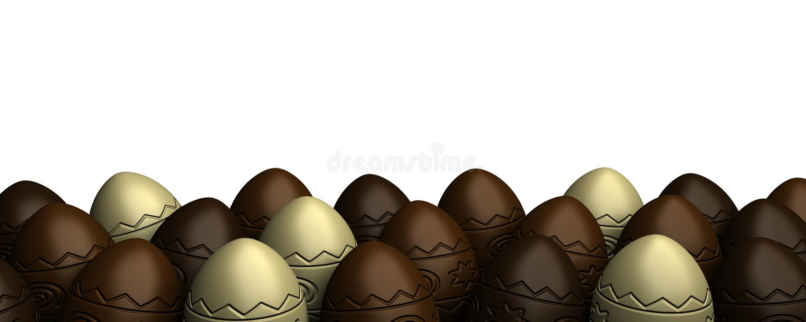 Rows of chocolate easter eggs stock illustration