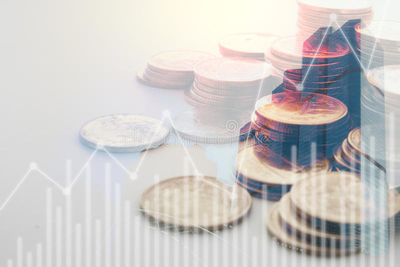 rows of coins for finance and banking stock photo