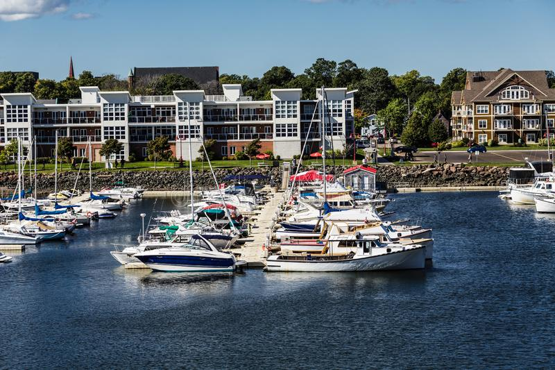 Rows of Colorful Boats in Charlottetown Harbor. CHARLOTTETOWN, PRINCE EDWARD ISLAND - September 24, 2015: Charlottetown is the capital Canadian province of stock images