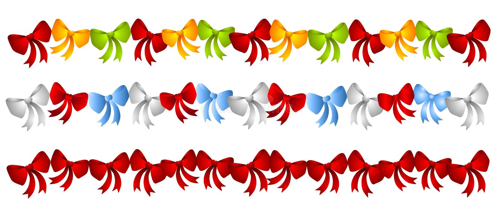 Download Rows Colorful Christmas Bows Stock Illustration - Image: 3528787
