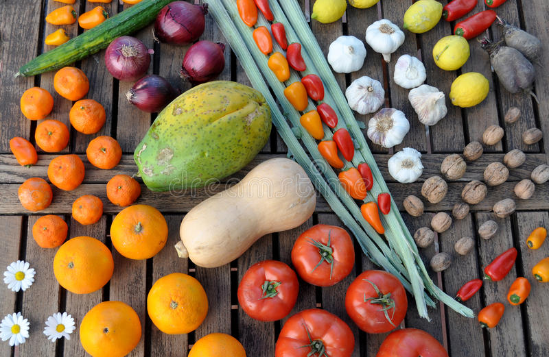 Rows of colorful fruit and vegetables stock images