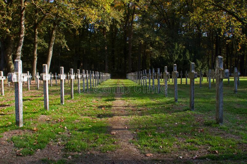 Rows of crosses in a graveyard. Rows of identical headstone stone crosses in graveyard, shades and sunlight, autumn leaves and grass stock photo
