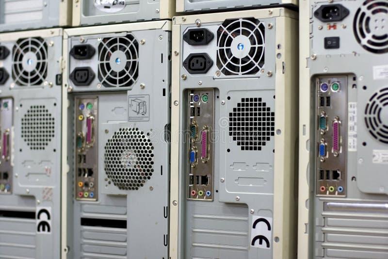 Rows of desktop computers stock image