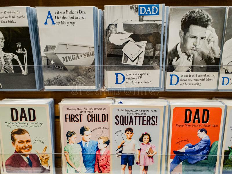 Fathers day cards on display in a store for sale in the UK. Rows of different cards available in preperation for Fathers Day in the UK 2019 royalty free stock photo