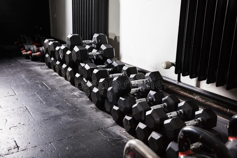 Rows Of Dumbbell royalty free stock photos