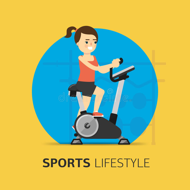 Rows of dumbbells in the gym. Illustration girl engaged on a stationary bike. Healthy life concept. Sport lifestyle. Fitness symbol. Vector icon vector illustration