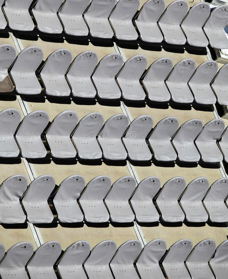 Rows of empty seats stock photos
