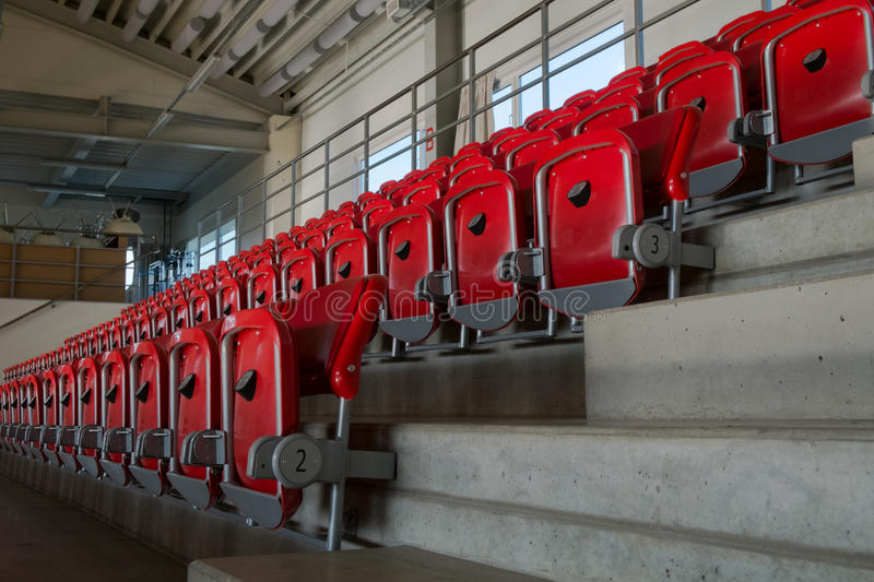 Rows of empty seats. In the Sports Hall stock photos