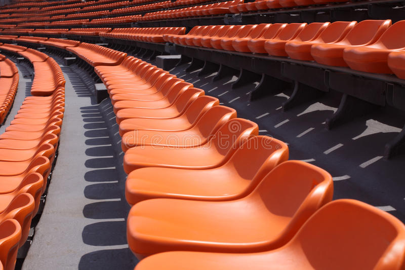 Rows of empty seats in a stadium royalty free stock images