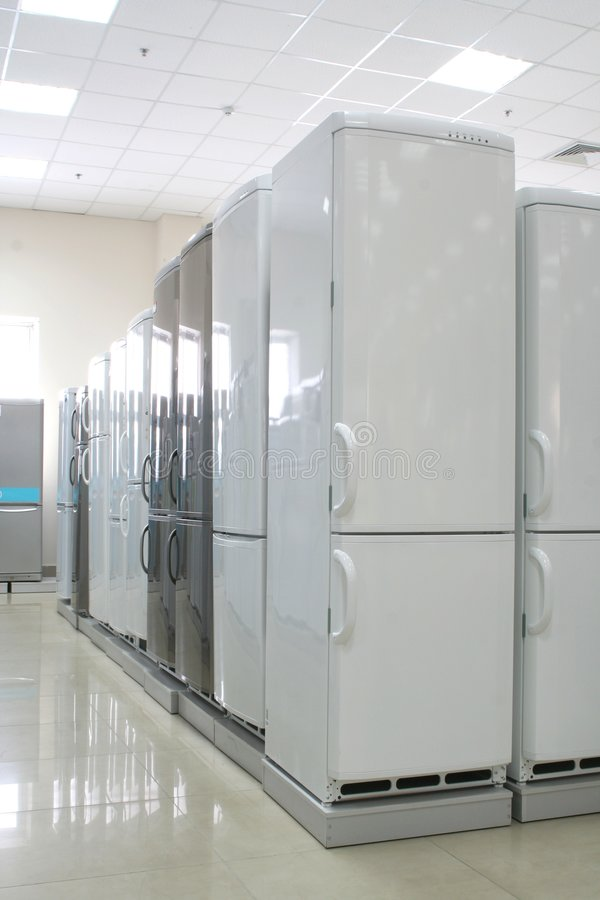 Rows of fridges in a store 2 stock images
