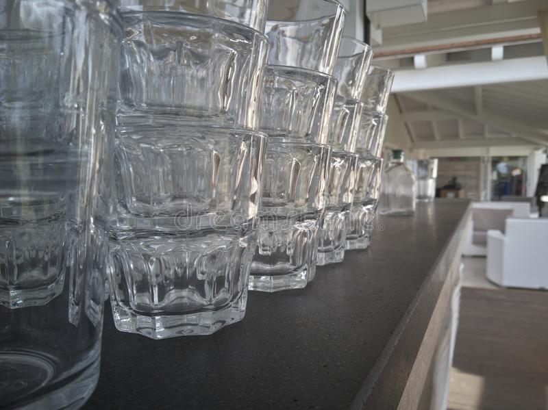 Rows of glasses stock photos