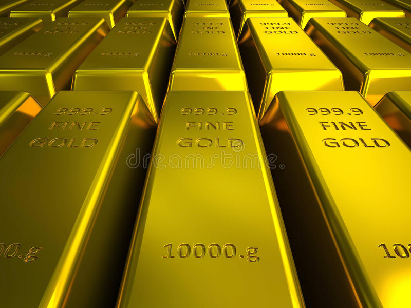 Download Rows Of Gold Bars Illustration Stock Illustration - Image: 30130661