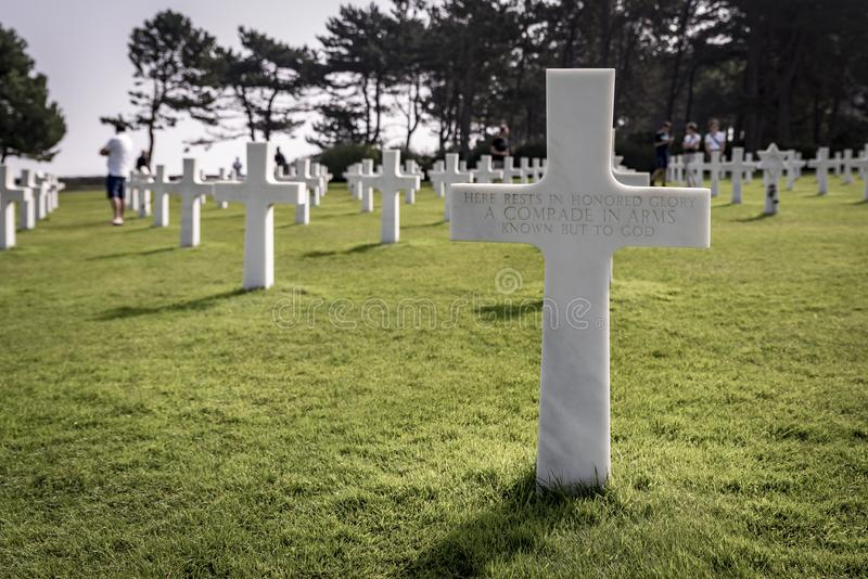 Rows of graves at the American Cemetery, in Normandy, Northern France. On a sunny summers day royalty free stock image