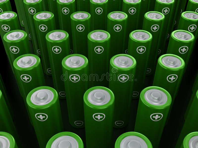 Download Rows Of Green Alkaline Batteries (AA) Stock Illustration - Image: 39404211