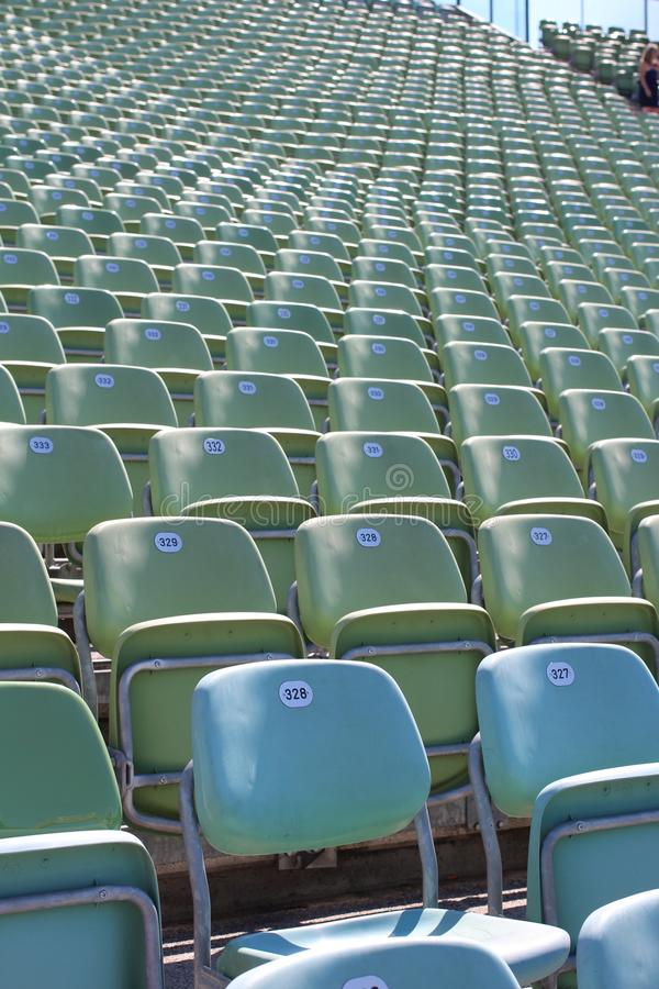 Rows of green seats royalty free stock photography