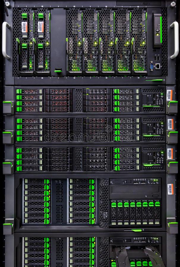 Rows of hard drives in the data center stock image