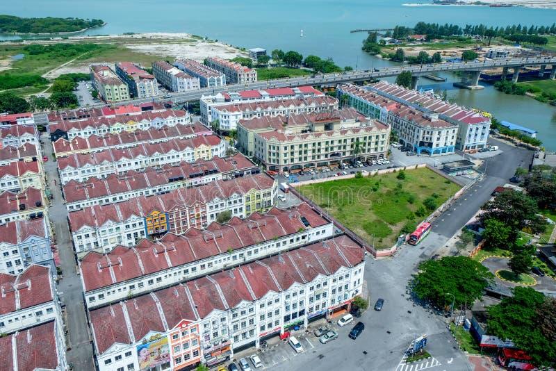Rows of historical houses in Malaka, Malaysia royalty free stock photo